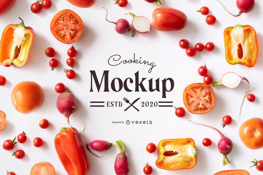 Maqueta de elementos de comida para cocinar
