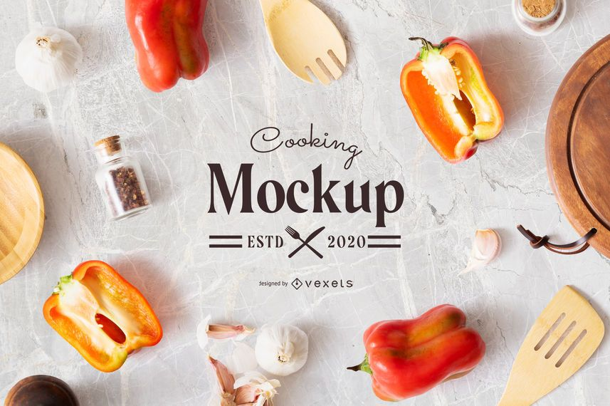 Cooking Table Mockup Composition