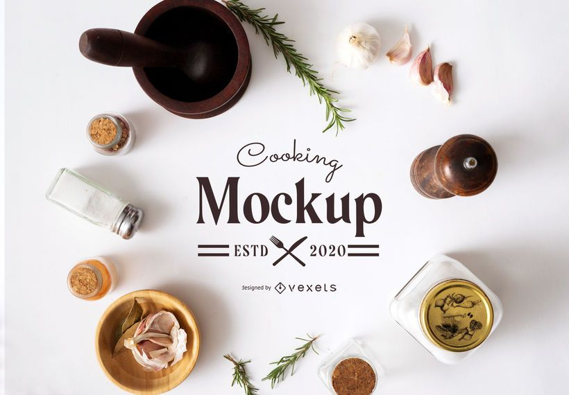 Editable Cooking Composition Mockup