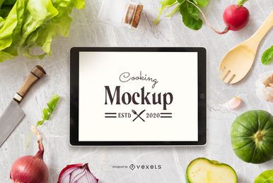 Cooking ipad mockup composition