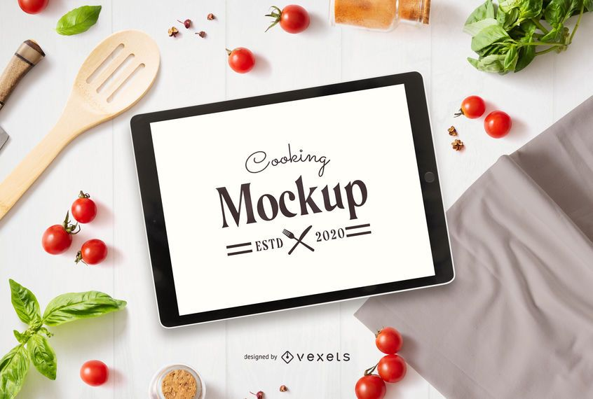 Cooking tablet mockup composition