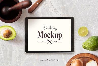 Maquete de tela de iPad de composição de cozinha