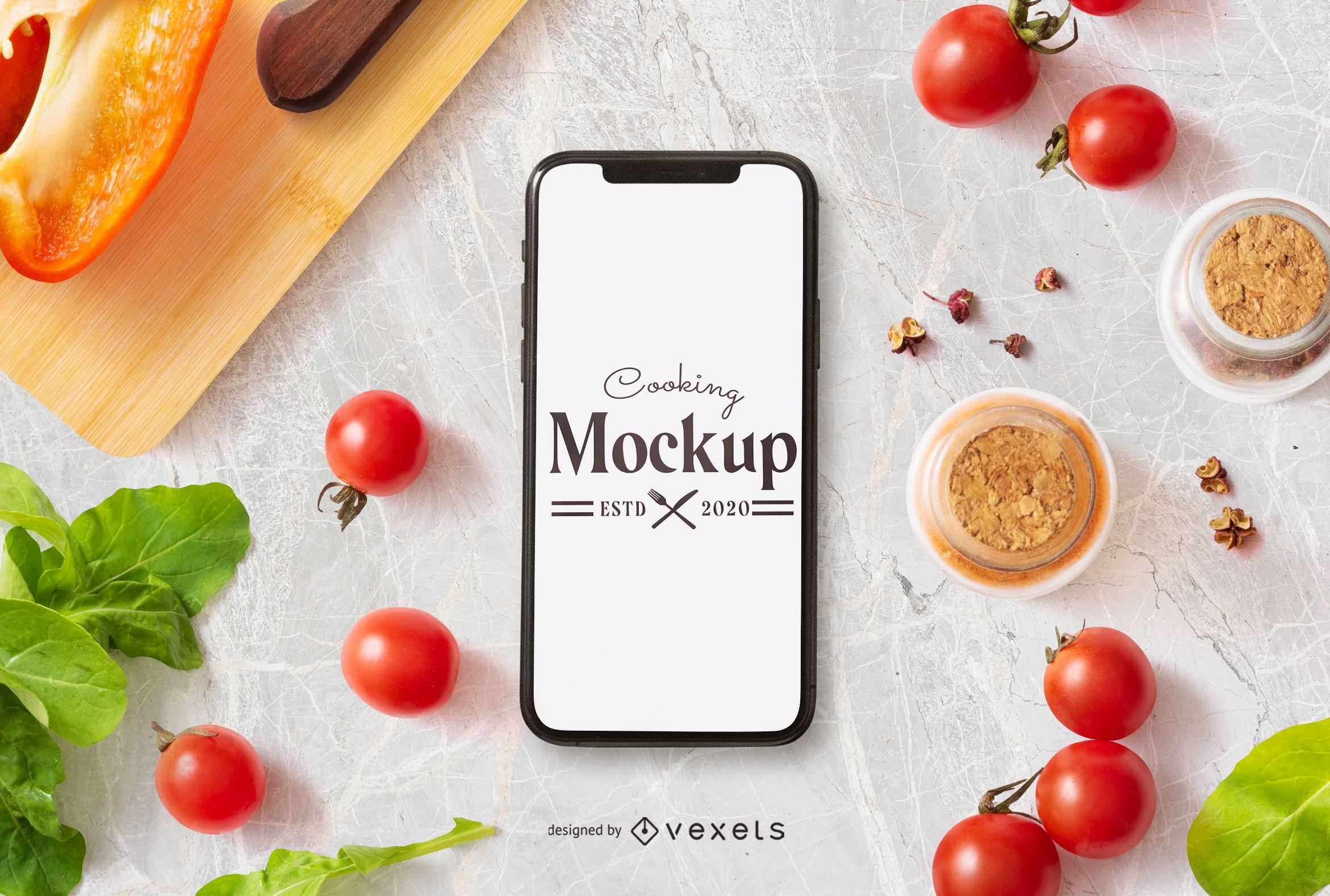 Composición de maqueta de iphone de cocina