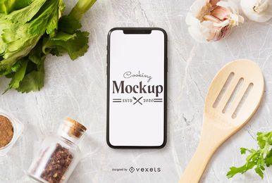 Cooking phone mockup composition