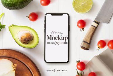 Composición de maquetas de teléfonos inteligentes de cocina