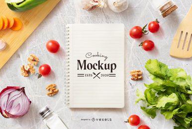 Composição de maquete de notebook de cozinha
