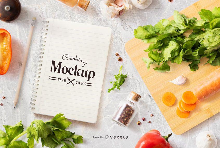 Design de maquete de notebook de cozinha