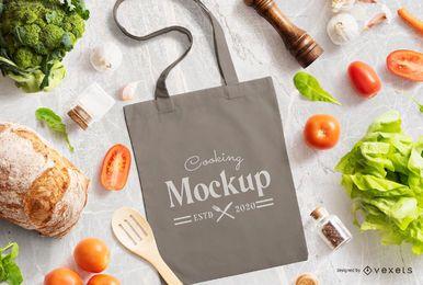 Composição de maquete de cozinha sacola