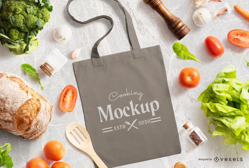 Tote Bag Cooking Mockup Composition
