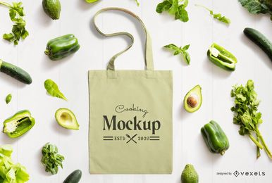 Tote bag veggies mockup composition
