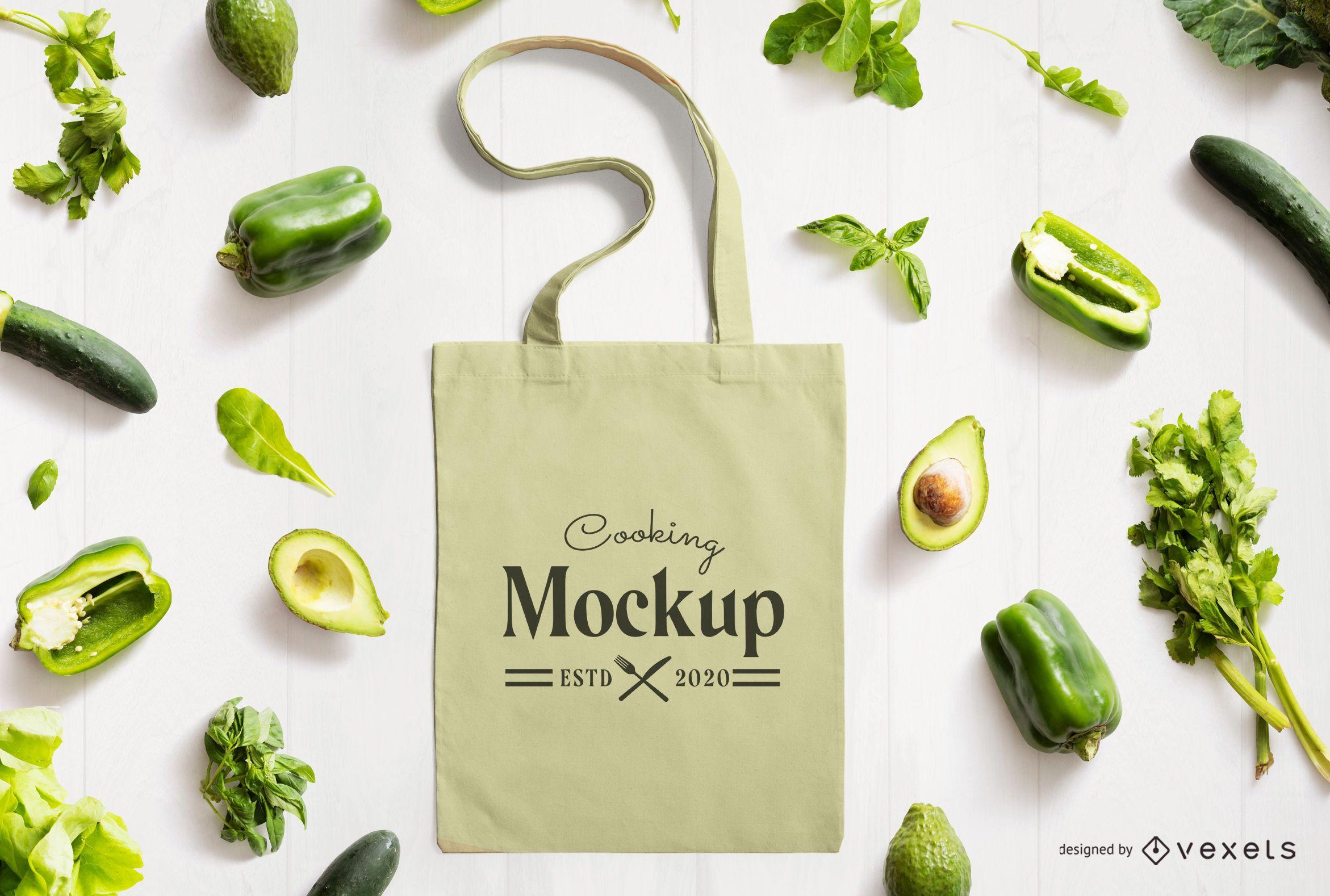 Tote bag veggies mockup composition