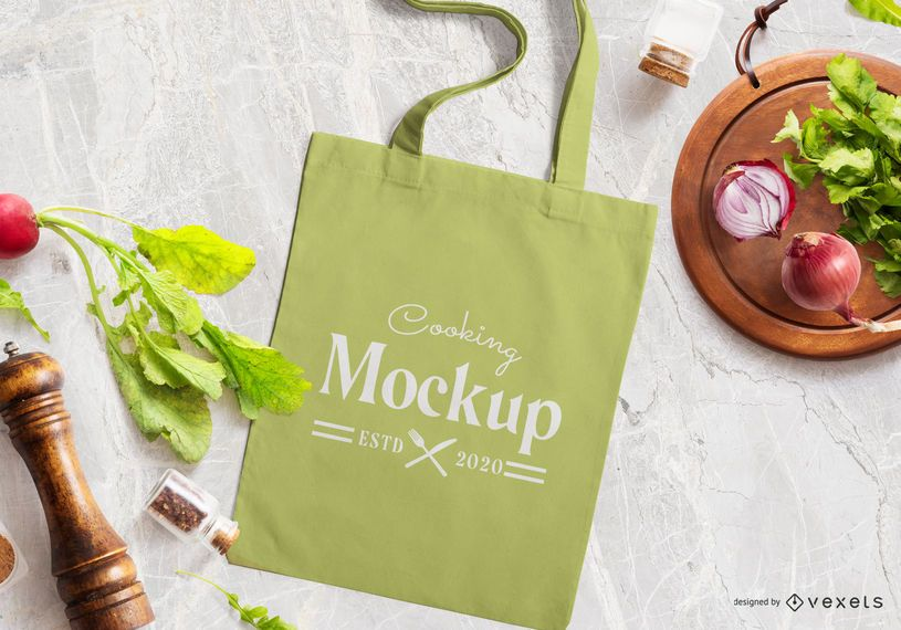 Composição de maquete de sacola de cozinha
