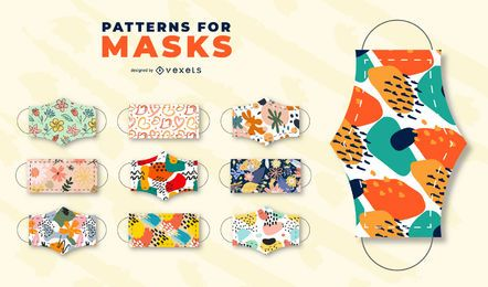 Patterns for face masks set