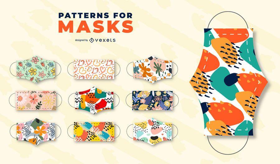 Patterns for face masks set