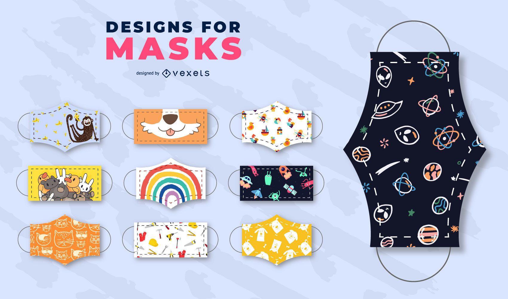 Patrones infantiles para conjunto de máscaras faciales.