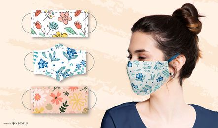 Floral patterns for face masks set