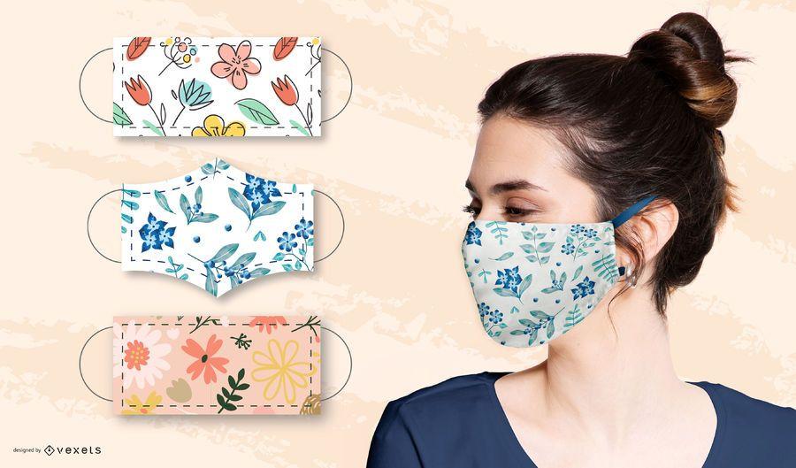 Floral patterns for face masks set