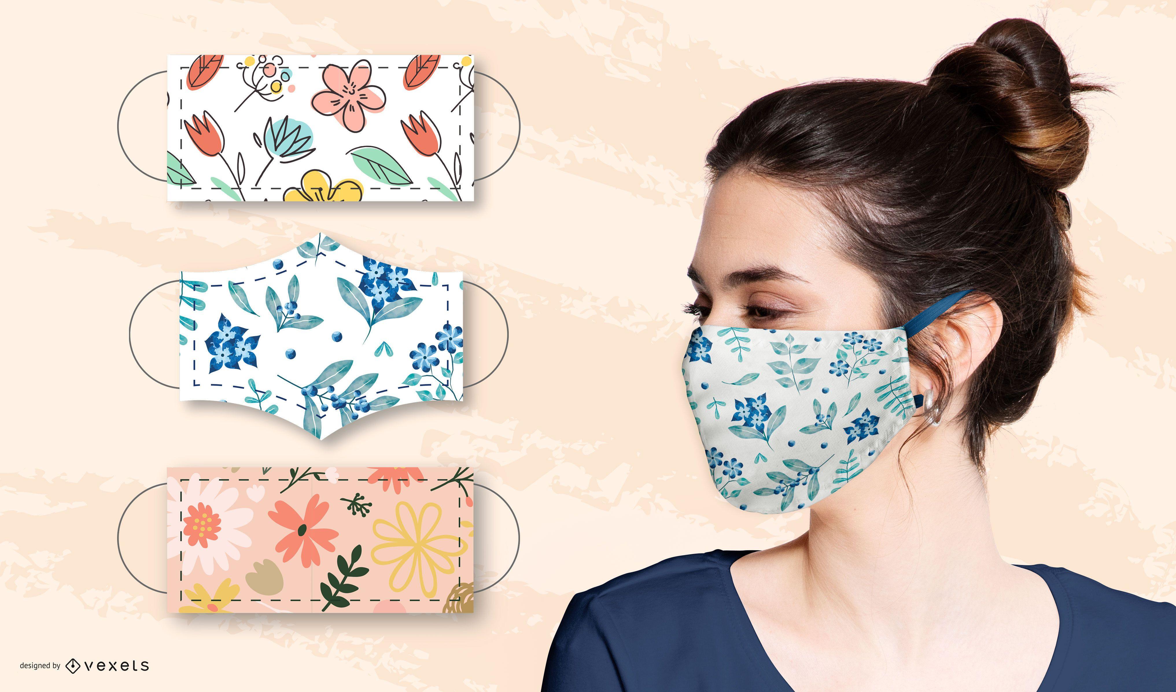 Blumenmuster für Gesichtsmasken gesetzt