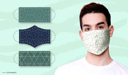 Geometric patterns for face masks set