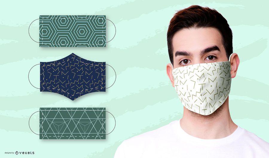 Geometric patterns for face masks set