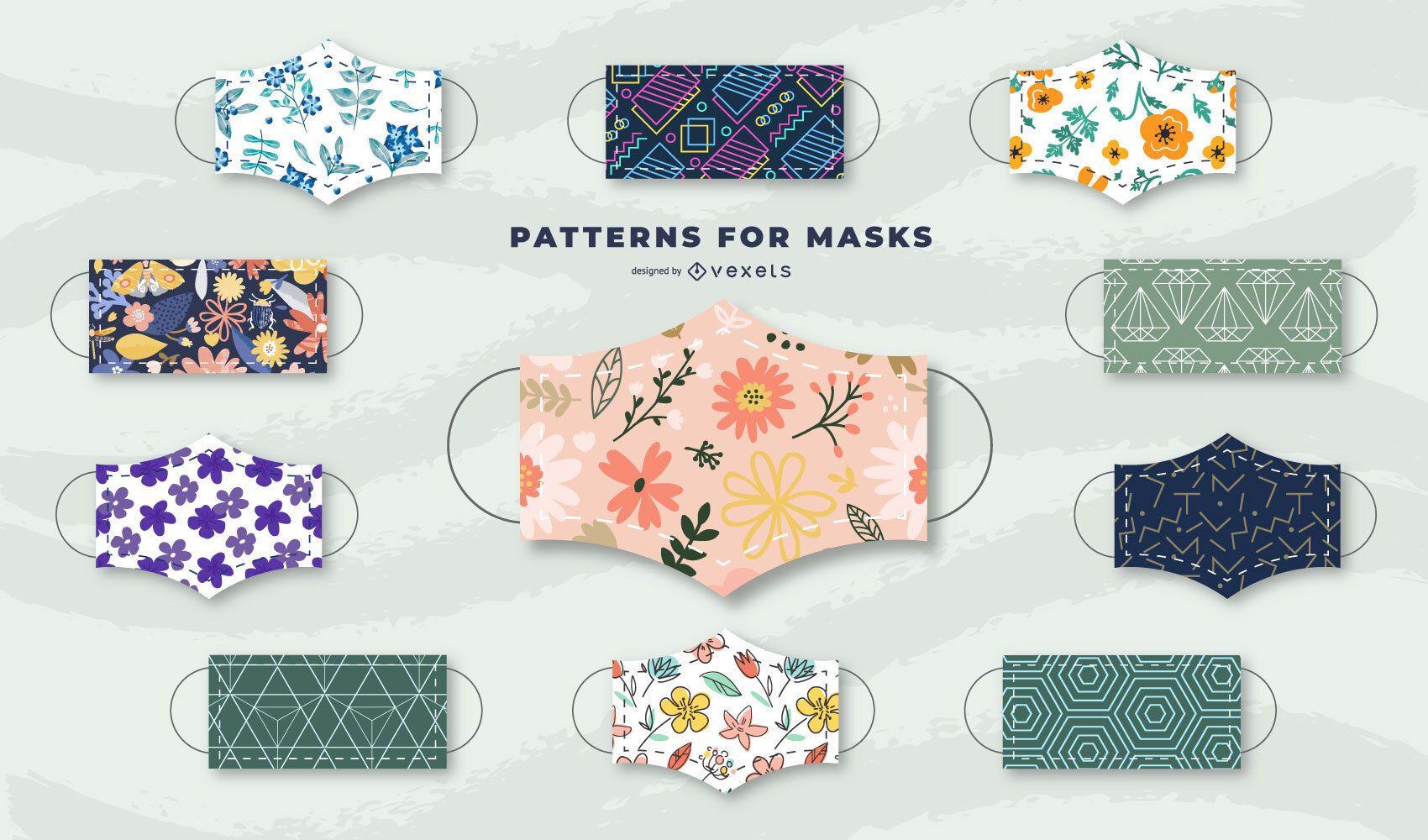 Patterns for face masks pack