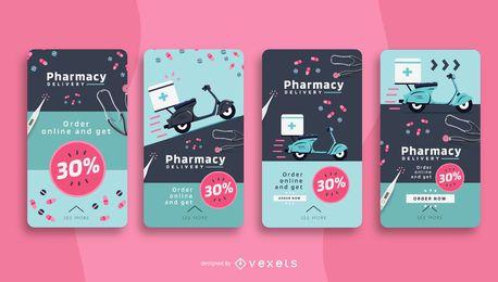 Pacote de histórias sociais de entrega de farmácia