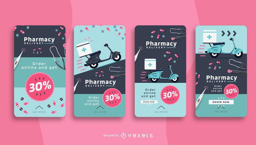 Pacote de histórias sociais para entrega de farmácias