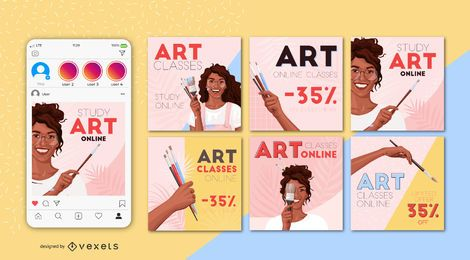 Art Classes Square Banner Design Set