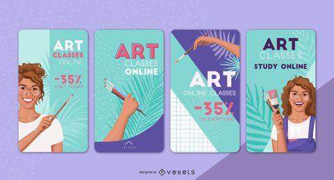 Paquete de diseño de historias sociales en línea de clases de arte