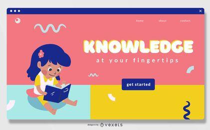 Diseño deslizante de pantalla completa de educación en línea para niños