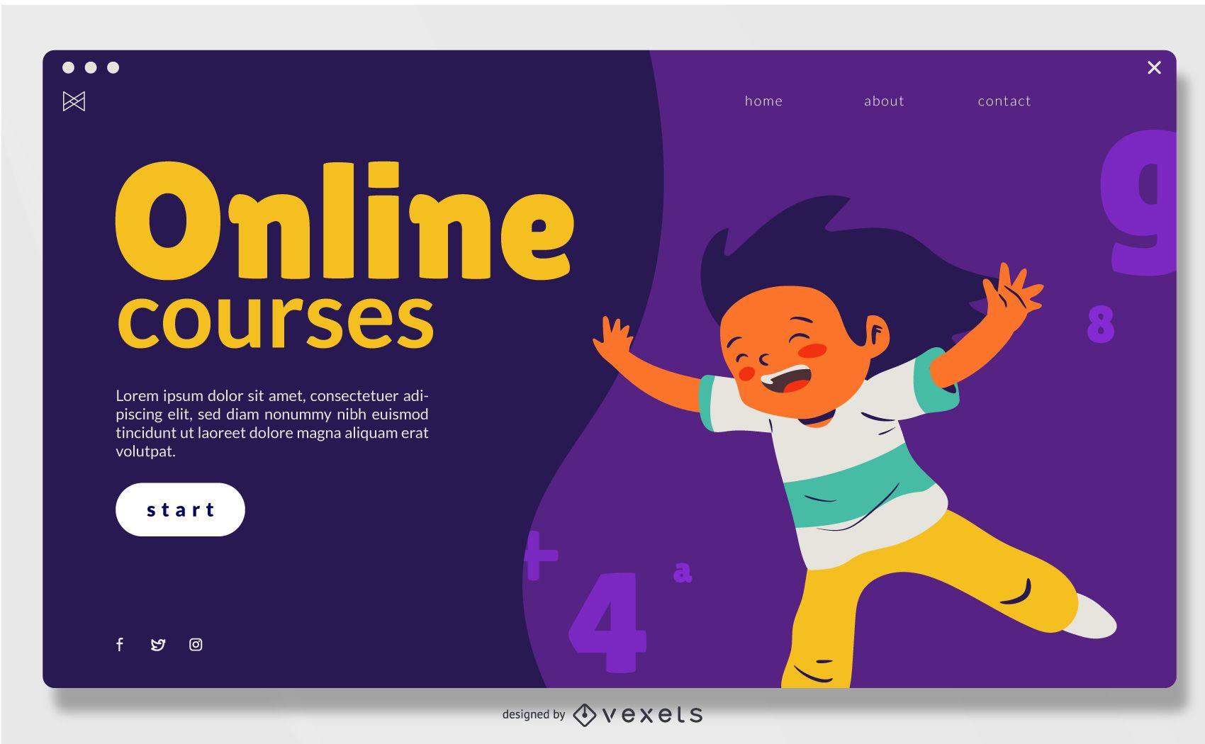 Cursos en línea Diseño deslizante de pantalla completa