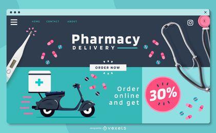 Diseño de control deslizante de negocios de farmacia de pantalla completa