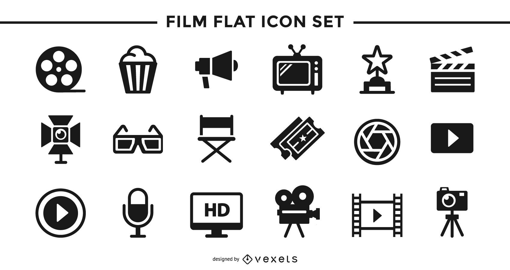 Conjunto de ícones planos de filme