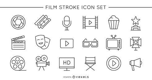 Conjunto de iconos de trazo de película