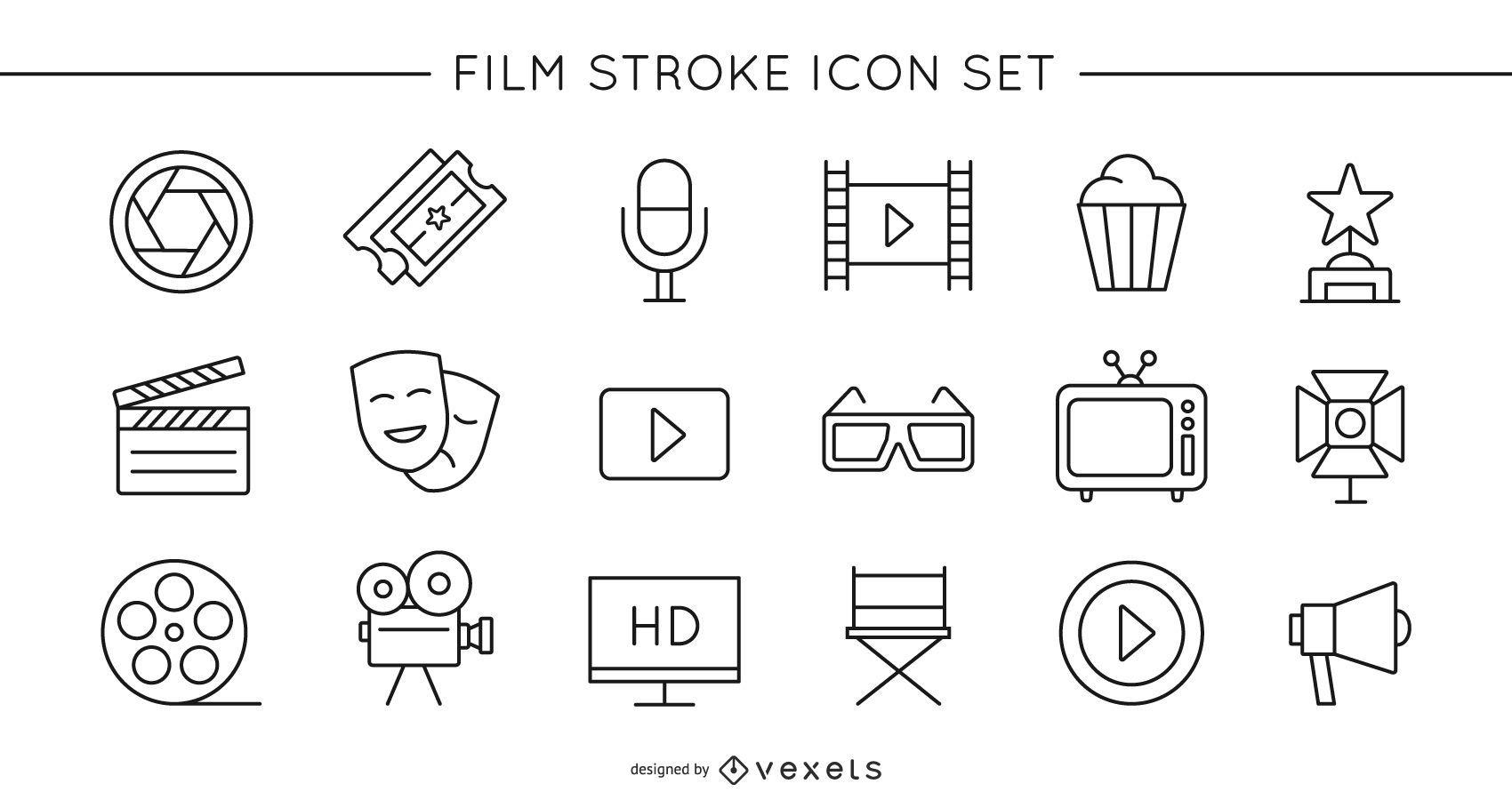 Conjunto de ícones de traço de filme