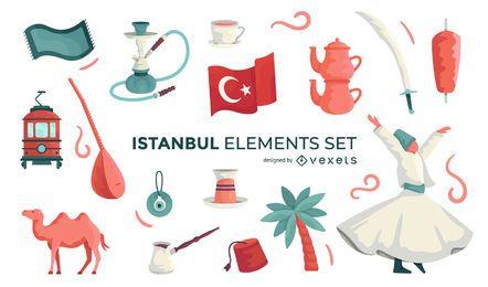 Conjunto de elementos ilustrados de Estambul