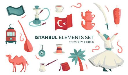 Istanbul Illustrated Elements Set