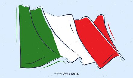 Bandeira da Itália Doodle Design
