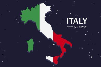 Diseño de país plano de bandera de Italia