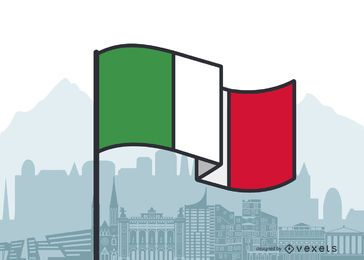 Italy Waving Flag Flat Design