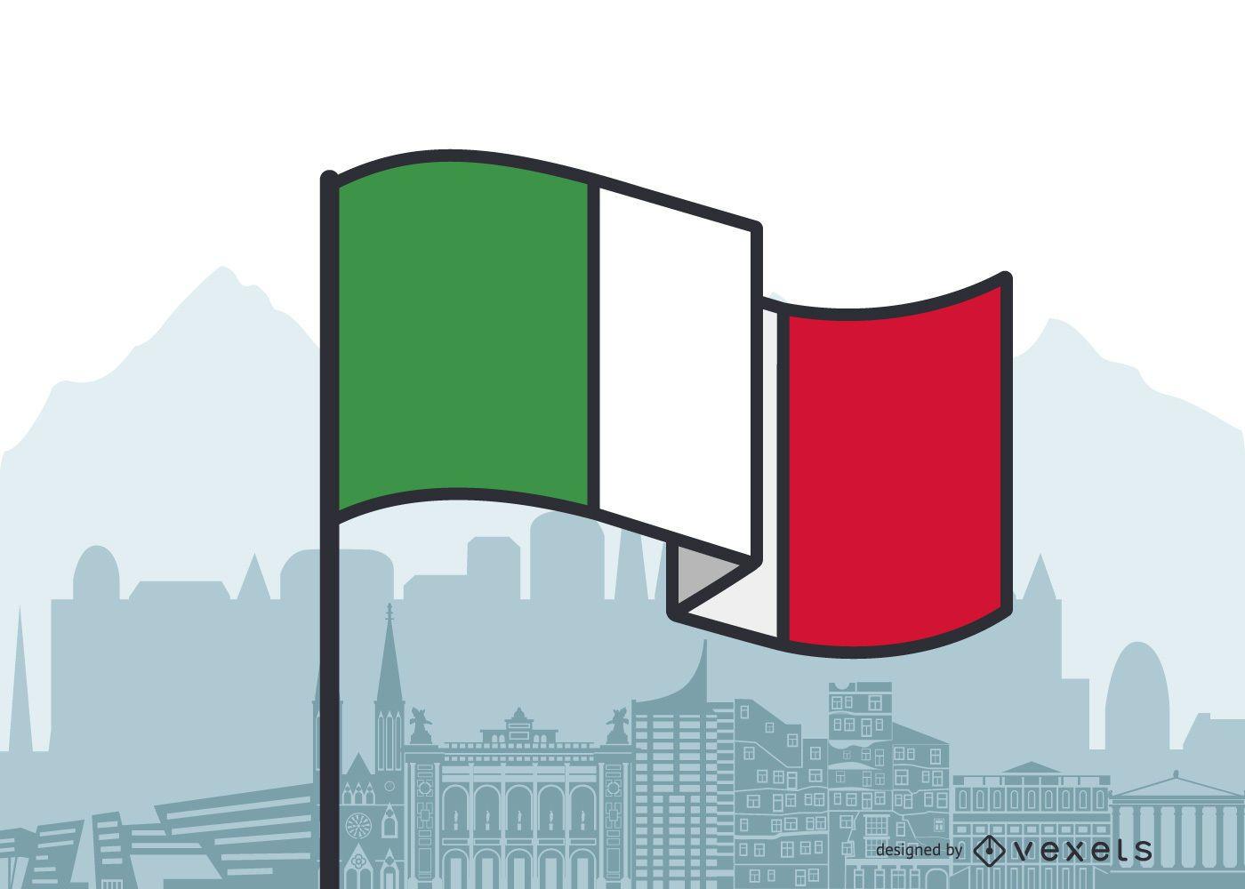 Diseño plano de la bandera que agita de Italia