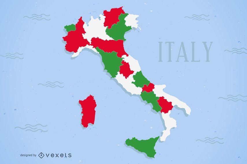 Diseño coloreado del mapa de Italia