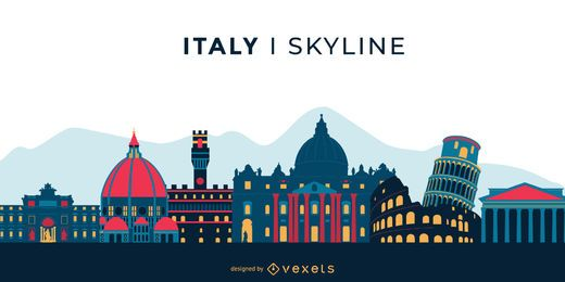 Italy Landmark Colored Skyline Design
