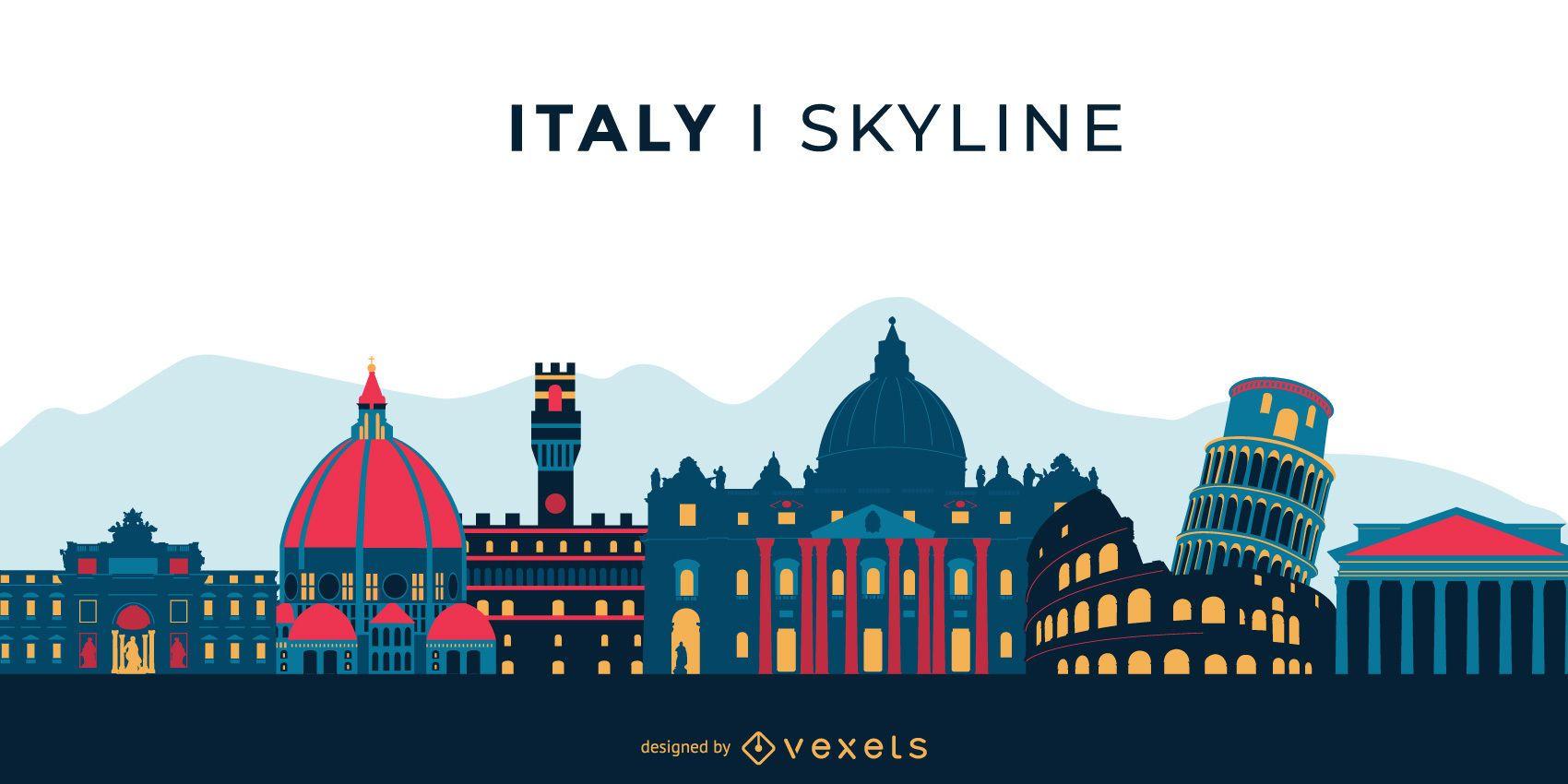 Italy Landmark Colored Skyline Design