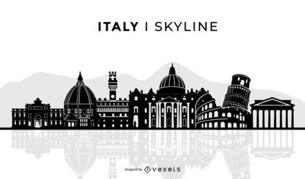 Diseño del horizonte de Italia silueta