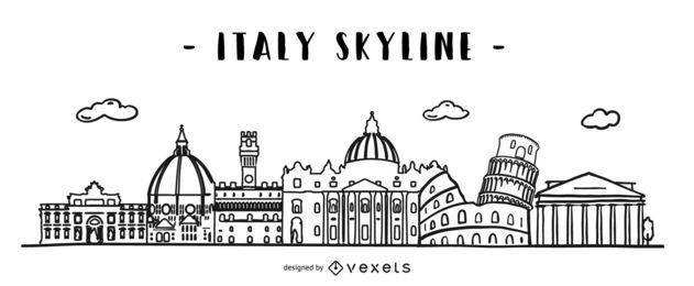 Diseño de horizonte de Doodle de Italia
