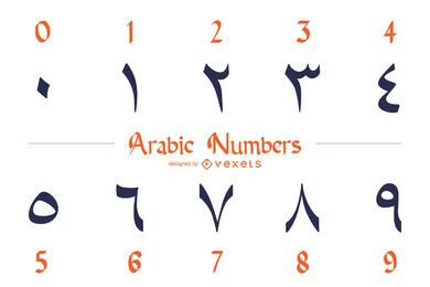 Pacote de design de números arábicos