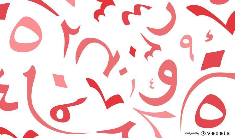 Aeabic numbers red background design