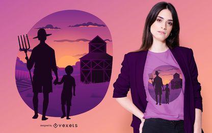 Projeto do t-shirt do fazendeiro do por do sol