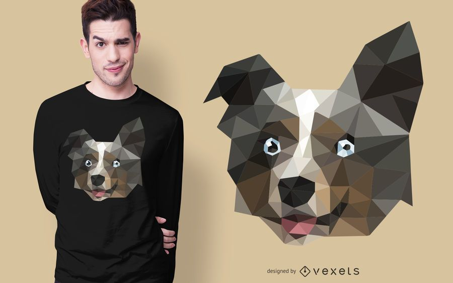 Design de camiseta poligonal para cachorro